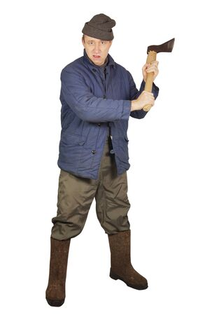 Enraged agressive man with an axe Stock Photo - 17382449