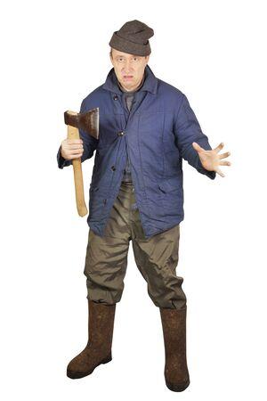 Enraged sloppy man with an axe Stock Photo - 17382454