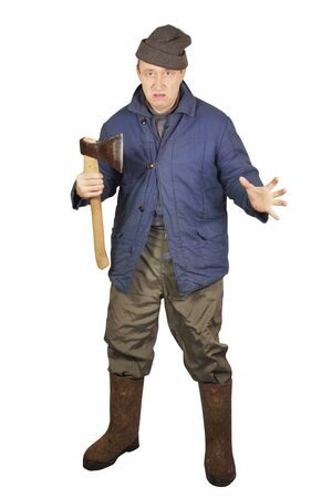 enraged: Enraged sloppy man with an axe Stock Photo