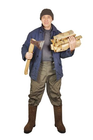 Man with an axe and cordwoods photo