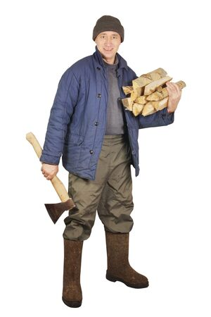 Man with an axe and firewoods photo
