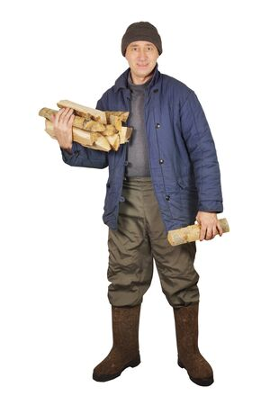 Ordinary man with firewoods Stock Photo - 17382453