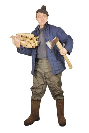 Village man with an axe and cordwoods photo