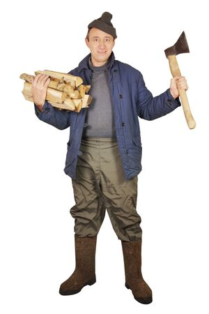 village man: Village man with an axe and woods Stock Photo