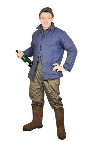 valenki: Drunk man with a bottle of alcohol Stock Photo