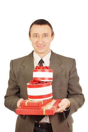 easygoing: Man with a lot of presents