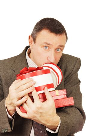weary: Weary man with a lot of presents