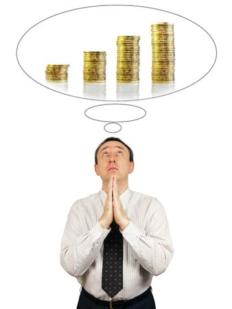 supplicate: Man prays about increase of income Stock Photo