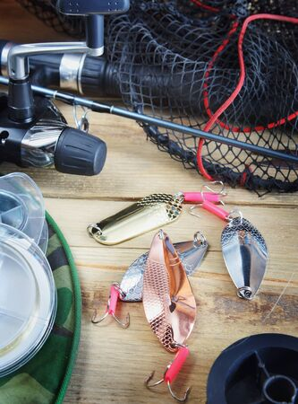 Fishing still life with fishing lures Stock Photo - 18019154