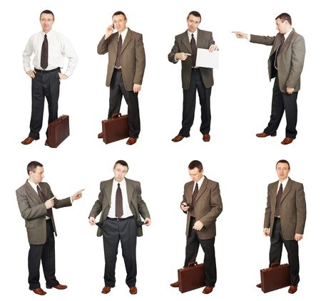 situations: Businessman In Different Situations In Diverse Poses