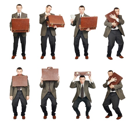 Man With Suitcase In Various Poses photo