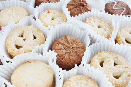 pleated: Diverse Cookies In Pleated Wrapper Stock Photo