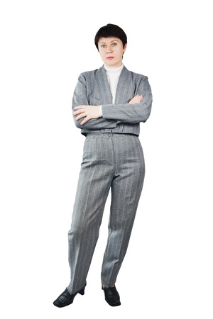Adult Woman Dressed In Gray Suit photo