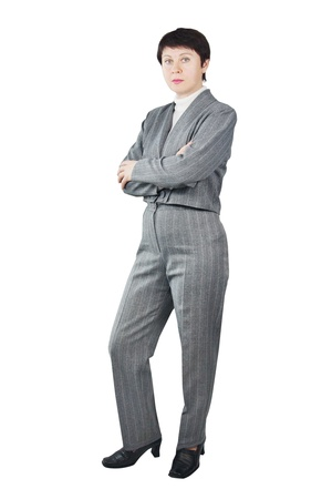 Business Woman Dressed In Gray Suit photo