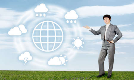 Woman Presents Global Weather Forecast Stock Photo - 18380485