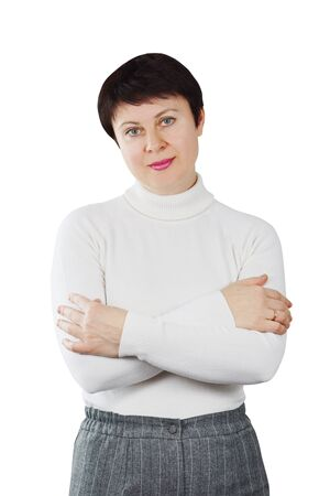 Pretty Woman Wearing White Knitted Turtleneck photo