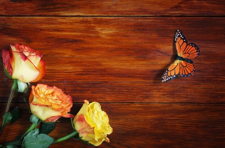 Corner Made of Roses and Butterfly on a Wooden Surface photo