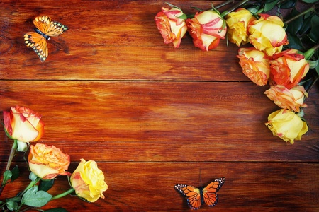 Wooden Background Decorated with Flowers photo