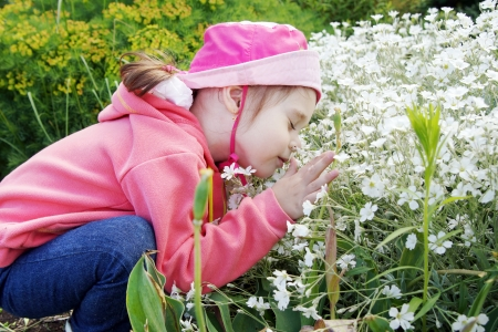Pretty Little Girl in a Garden Sniffs Flowers Stock Photo