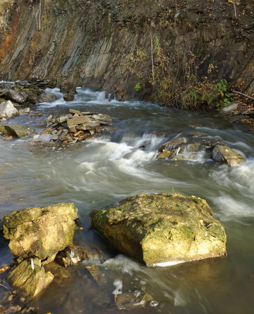 quickly: Water quickly flows in a mountain stream