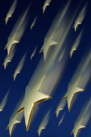 Gold stars falling down from the sky 免版税图像