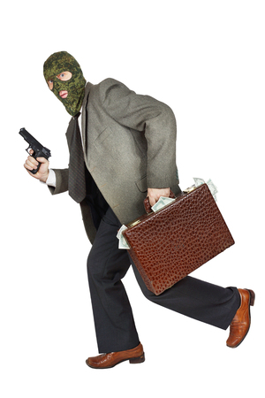 perpetrator: Burglar running with the gun and a briefcase full of money