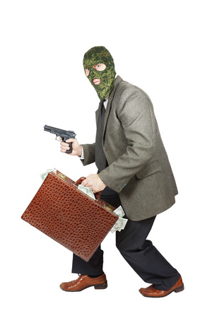 perpetrator: Burglar sneaking with the gun and a briefcase full of money