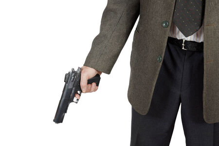 murdering: Man holds a pistol in his hand