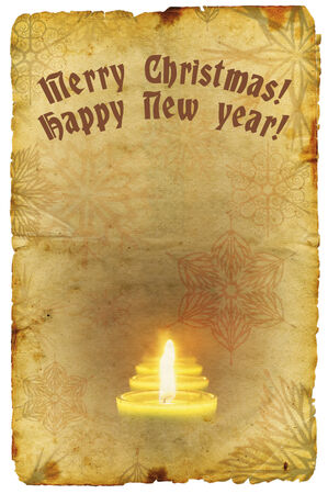 Grunge old paper with Christmas and New Year greeting photo