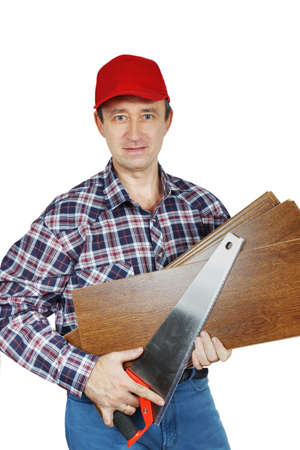 handsaw: Carpintero con sierra de mano y maderas