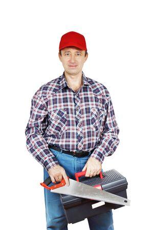 serrucho: Joiner con sierra de mano y la caja de herramientas