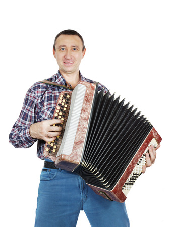 Man plays accordion 免版税图像