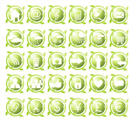 thirty: Set of thirty round environmental green icons