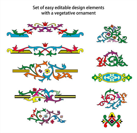 vegetative: Set of easy editable design elements with vegetative ornament