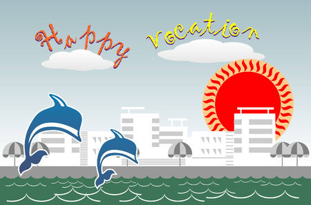 Vector editable image about summer vocation on the seaside Vector