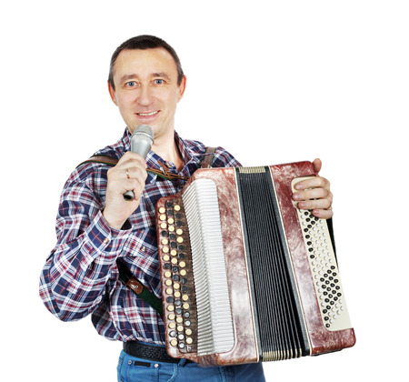 Man with harmonica and with microphone photo