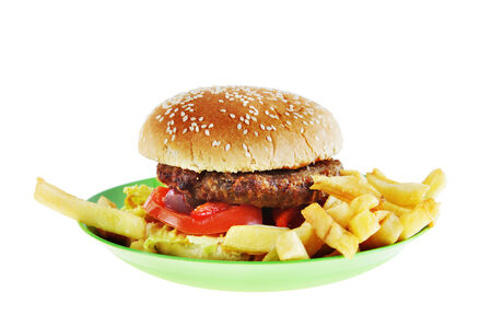 Hamburger in the plate isolated on white  photo