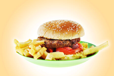 Hamburger with French fries on the green plastic  plate photo