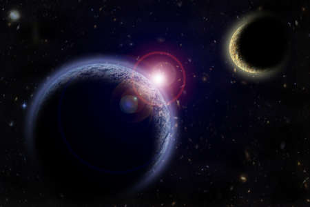 macrocosm: Two planets in outer space Stock Photo