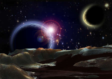 macrocosm: View to open space from surface of a planet