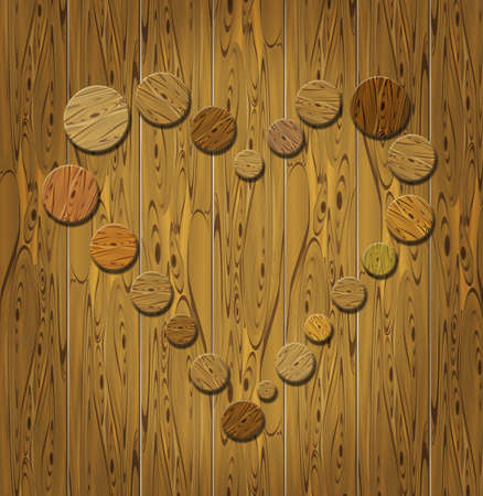Wooden heart on wooden background photo