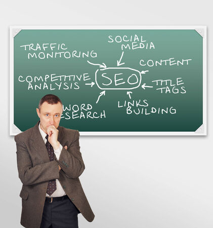 Clever man thinking about SEO optimization photo