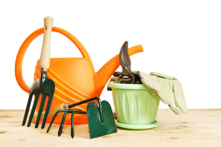 Various garden tools isolated over white background photo
