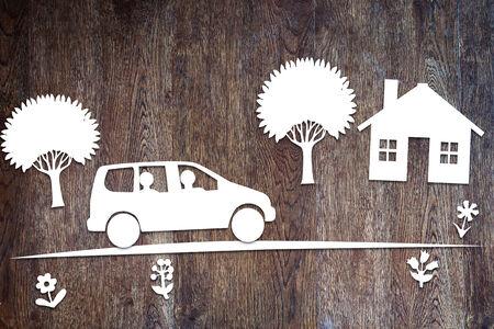 Concept de la conduite dans une voiture de la famille