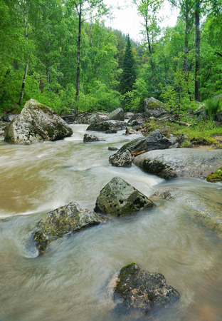 Beautiful landscape with stormy mountain creek
