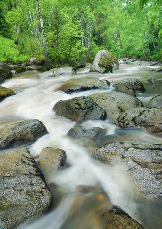turbulent: Beautiful landscape with turbulent mountain river Stock Photo