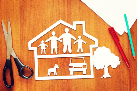 Concept of full happy family in their house