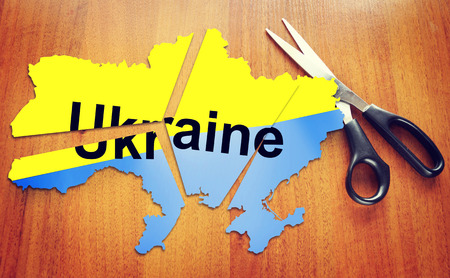 disintegration: Cut map of Ukraine, Concept of disintegration of the country Stock Photo