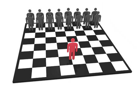 opposing: Abstract man character stands on a chessboard before opposing team
