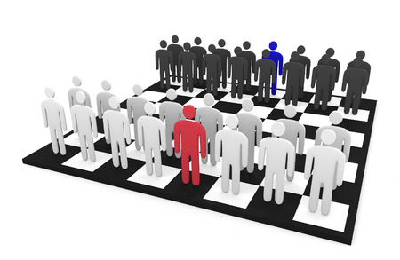 Abstract men characters stand on a chessboard as two teams photo